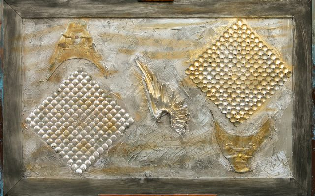 Wood collage art - Cupidon