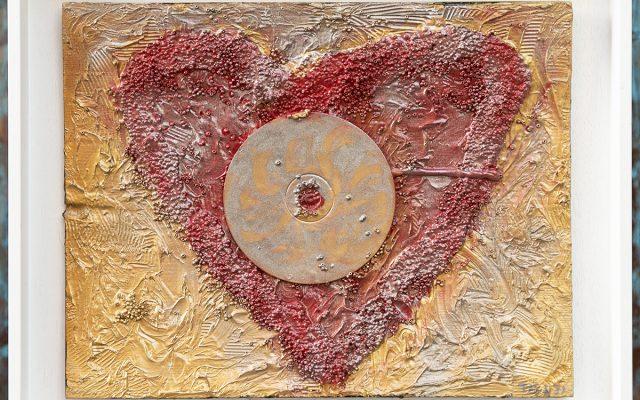 Wood collage art - Sentimental Heart