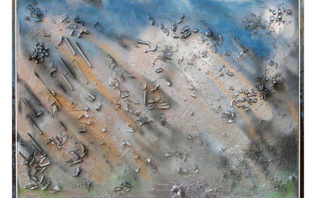 Wood collage art - Tempesta su Lago